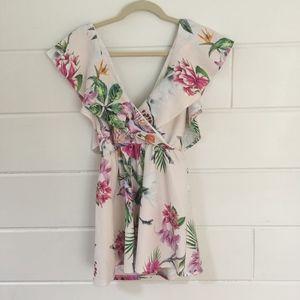 Floral Tropical Print Frill Romper